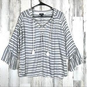 a.n.a | White&Black Boho Bell Sleeve Blouse Large